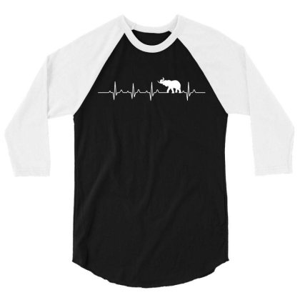 Heartbeat Elephant T Shirt 3/4 Sleeve Shirt Designed By Gnuh79