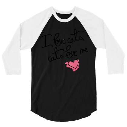 I Love Cats 3/4 Sleeve Shirt Designed By Victor_33