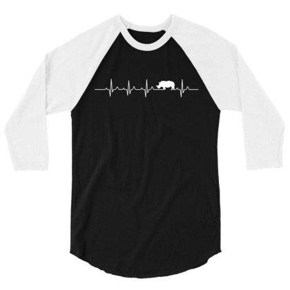 Heartbeat Rhino T Shirt 3/4 Sleeve Shirt Designed By Gnuh79