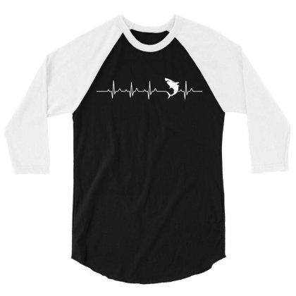 Heartbeat Shark T Shirt 3/4 Sleeve Shirt Designed By Gnuh79