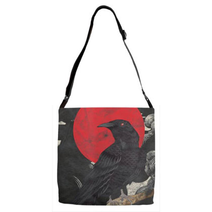 Red Moon Raven Graphic Black Crow Adjustable Strap Totes Designed By Martinezart