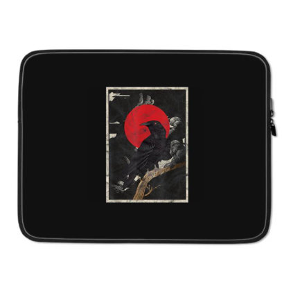 Red Moon Raven Graphic Black Crow Laptop Sleeve Designed By Martinezart