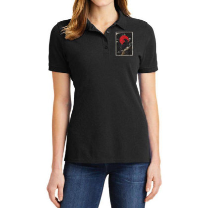 Red Moon Raven Graphic Black Crow Ladies Polo Shirt Designed By Martinezart