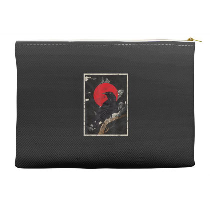 Red Moon Raven Graphic Black Crow Accessory Pouches Designed By Martinezart