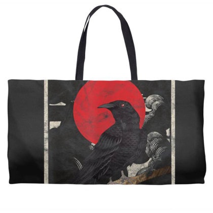 Red Moon Raven Graphic Black Crow Weekender Totes Designed By Martinezart