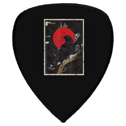Red Moon Raven Graphic Black Crow Shield S Patch Designed By Martinezart