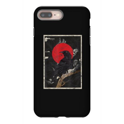 Red Moon Raven Graphic Black Crow Iphone 8 Plus Case Designed By Martinezart