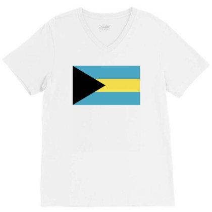 Bahamas Flag V-neck Tee Designed By Sengul