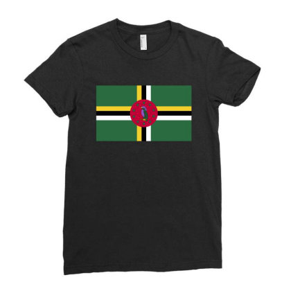Dominica Flag Ladies Fitted T-shirt Designed By Sengul