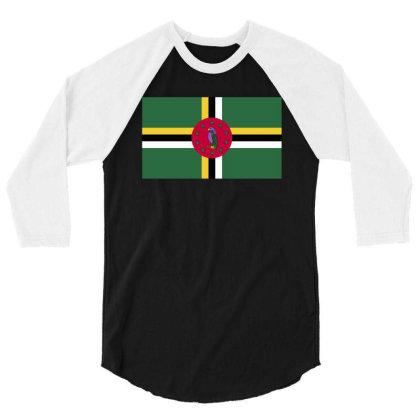 Dominica Flag 3/4 Sleeve Shirt Designed By Sengul