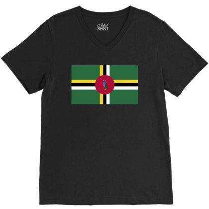 Dominica Flag V-neck Tee Designed By Sengul