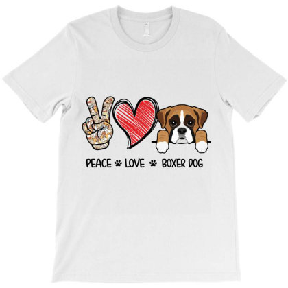 Peace Love Boxer Dog T-shirt Designed By Hoainv