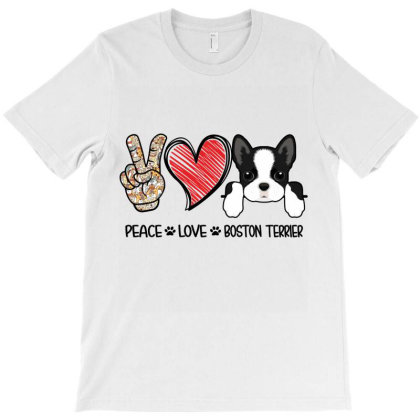 Peace Love Boston Terrier T-shirt Designed By Hoainv