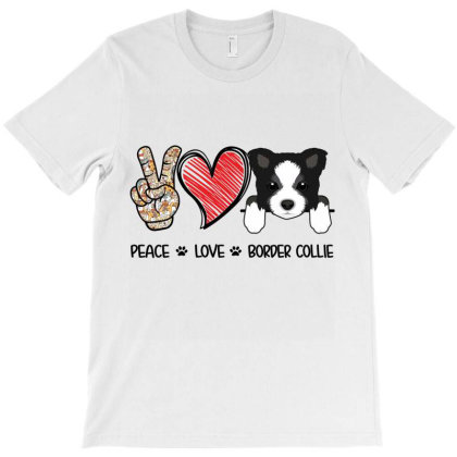 Peace Love Border Collie T-shirt Designed By Hoainv