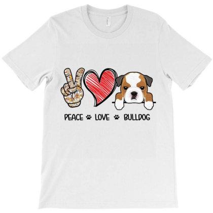 Peace Love Bulldog T-shirt Designed By Hoainv