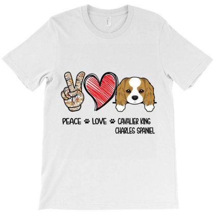 Peace Love Cavalier King Charles Spaniel T-shirt Designed By Hoainv