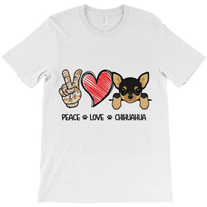 Peace Love Chihuahua T-shirt Designed By Hoainv