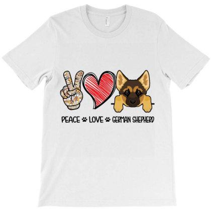 Peace Love German Shepherd T-shirt Designed By Hoainv