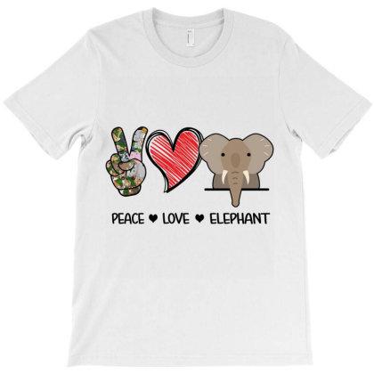 Peace Love Elephant T-shirt Designed By Hoainv