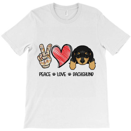 Peace Love Dachshund T-shirt Designed By Hoainv