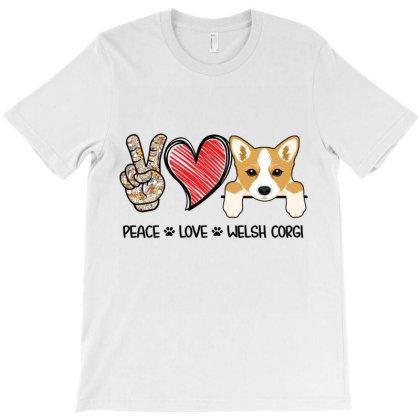 Peace Love Welsh Corgi T-shirt Designed By Hoainv