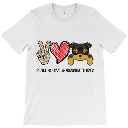 Peace Love Yorkshire Terrier T-shirt Designed By Hoainv