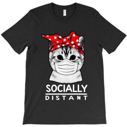 Social Distance  Cat Lovers T-shirt Designed By Andromeda