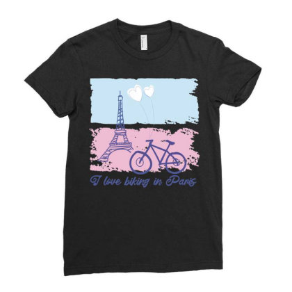 Biking In Paris Ladies Fitted T-shirt Designed By Igaart