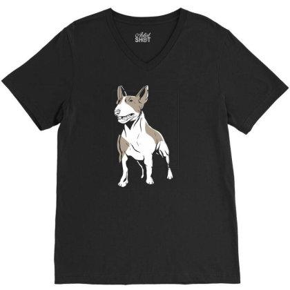 Bull Terrier V-neck Tee Designed By Igaart