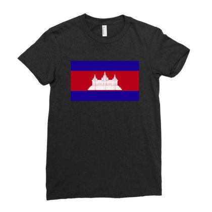 Cambodia Flag Ladies Fitted T-shirt Designed By Sengul