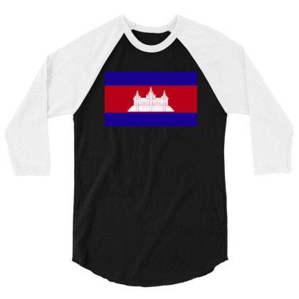 Cambodia Flag 3/4 Sleeve Shirt Designed By Sengul
