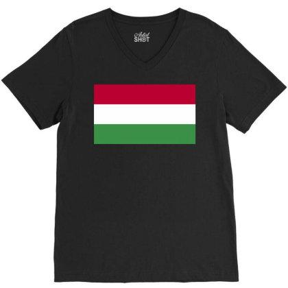 Hungary Flag V-neck Tee Designed By Sengul