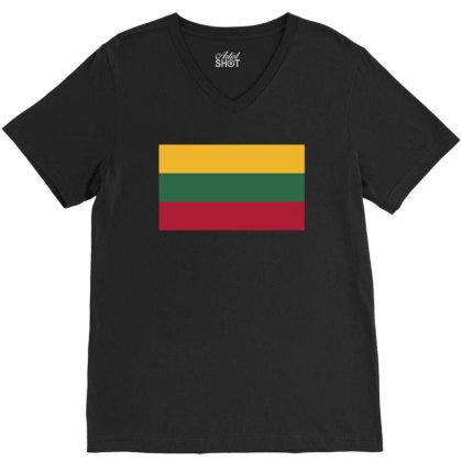 Lithuania Flag V-neck Tee Designed By Sengul