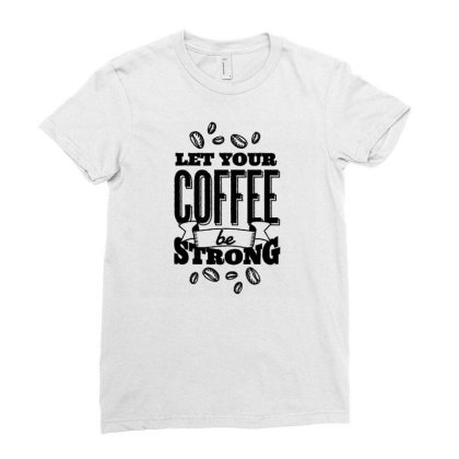 Calligraphic Coffee Ladies Fitted T-shirt Designed By Igaart