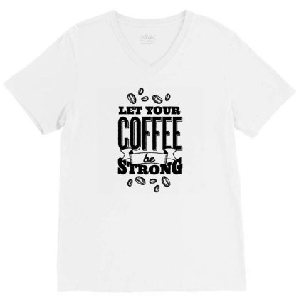 Calligraphic Coffee V-neck Tee Designed By Igaart