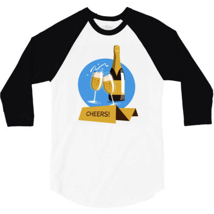 Champagne Cheers Greeting Card 3/4 Sleeve Shirt Designed By Igaart