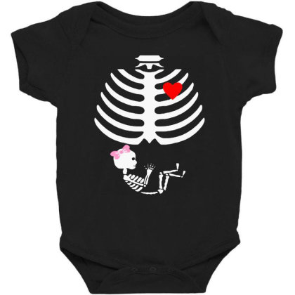 Baby Girl Skeleton Pregnancy Love Halloween Baby Bodysuit
