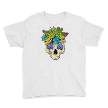 Crystal Cactus Skull Youth Tee Designed By Igaart