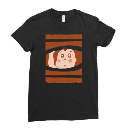 Curious Baby Ladies Fitted T-shirt Designed By Igaart