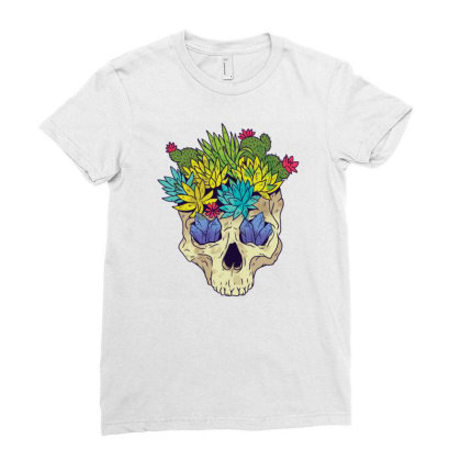 Crystal Cactus Skull Ladies Fitted T-shirt Designed By Igaart