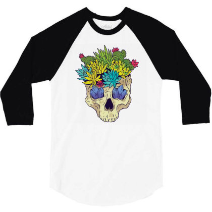 Crystal Cactus Skull 3/4 Sleeve Shirt Designed By Igaart