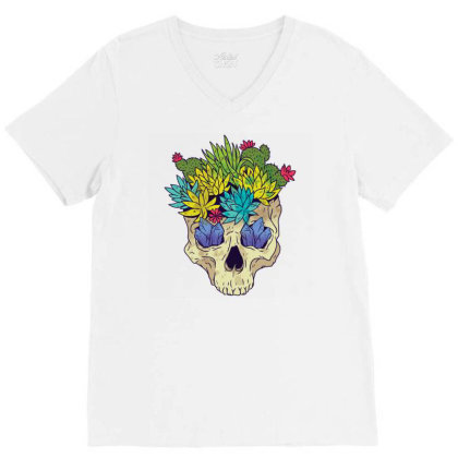 Crystal Cactus Skull V-neck Tee Designed By Igaart