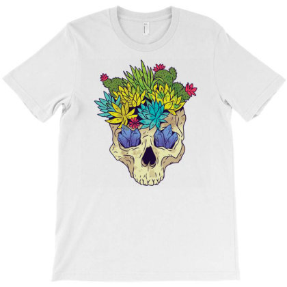 Crystal Cactus Skull T-shirt Designed By Igaart