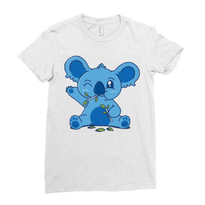 Cute Koala Eating Eucalyptus Ladies Fitted T-shirt Designed By Igaart
