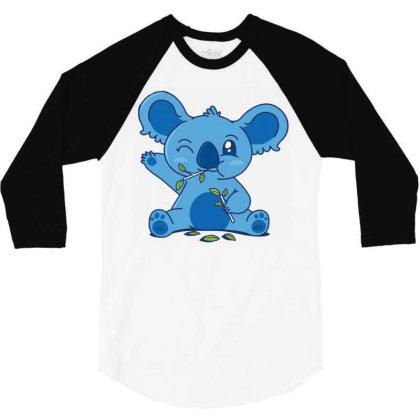 Cute Koala Eating Eucalyptus 3/4 Sleeve Shirt Designed By Igaart