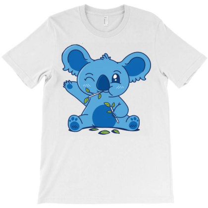 Cute Koala Eating Eucalyptus T-shirt Designed By Igaart