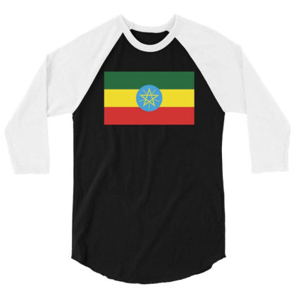 Ethiopia Flag 3/4 Sleeve Shirt Designed By Sengul
