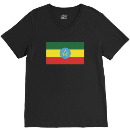 Ethiopia Flag V-neck Tee Designed By Sengul