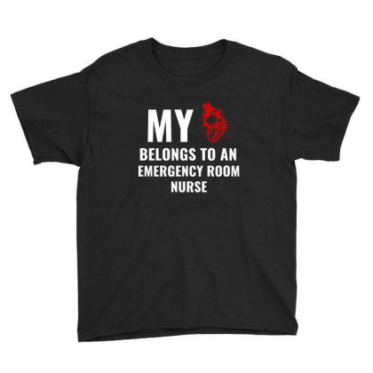 Emergency Room Nurse Funny Heart White Youth Tee Designed By Perfect Designers