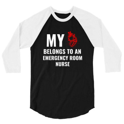 Emergency Room Nurse Funny Heart White 3/4 Sleeve Shirt Designed By Perfect Designers